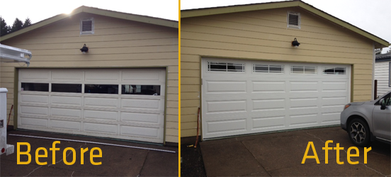 4053 Prairie Windows with Long Raised Panel Before and After by KGN Overhead Door